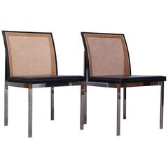 Pair of Mid-Century Chrome and Cane Chairs by Lane