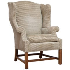 Chippendale Style Mahogany Framed Wing Chair by Baker