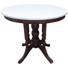 19th Century Victorian Marble-Top Round Table