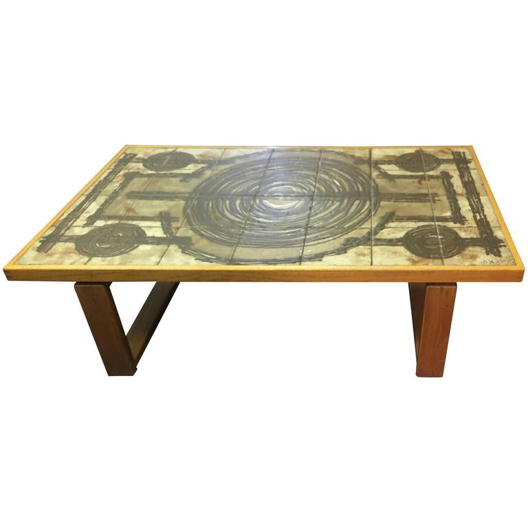 Trioh Ox Art Teak with Tile Top Coffee Table at 1stdibs