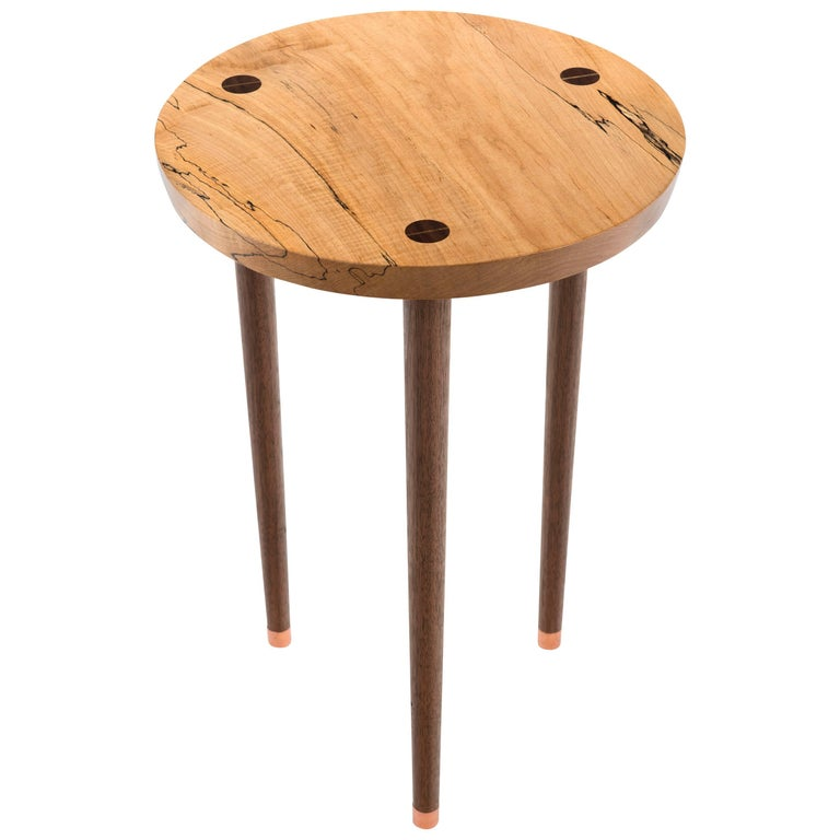 Prime Tea Table in Curly, Spalted Maple with Turned Walnut Legs Capped in Copper For Sale