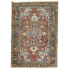 Antique Persian Heriz Throw Scatter Square Rug