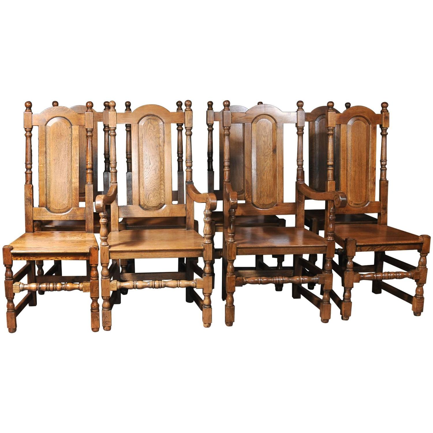 set of eight english elizabethan tudor oak dining chairs for sale at