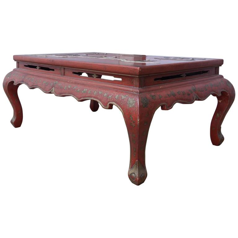 Chinese Red Lacquer Hard Stone Kang Coffee Table 1