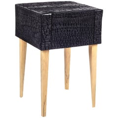 Charred End Table in Loblolly Pine with Single Drawer and Triangular Legs