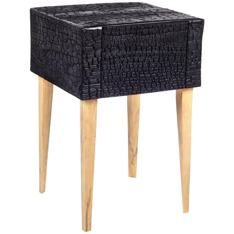 Charred End Table in Loblolly Pine with Single Drawer and Triangular Legs For Sale