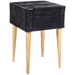 Charred Loblolly Pine Geometric Commode with Single Drawer and Triangular Legs