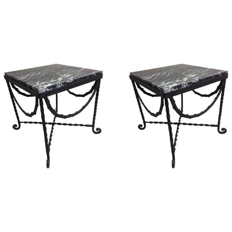 Pair of French Art Deco Hammered Iron Side Tables Attributed Edgar Brandt For Sale