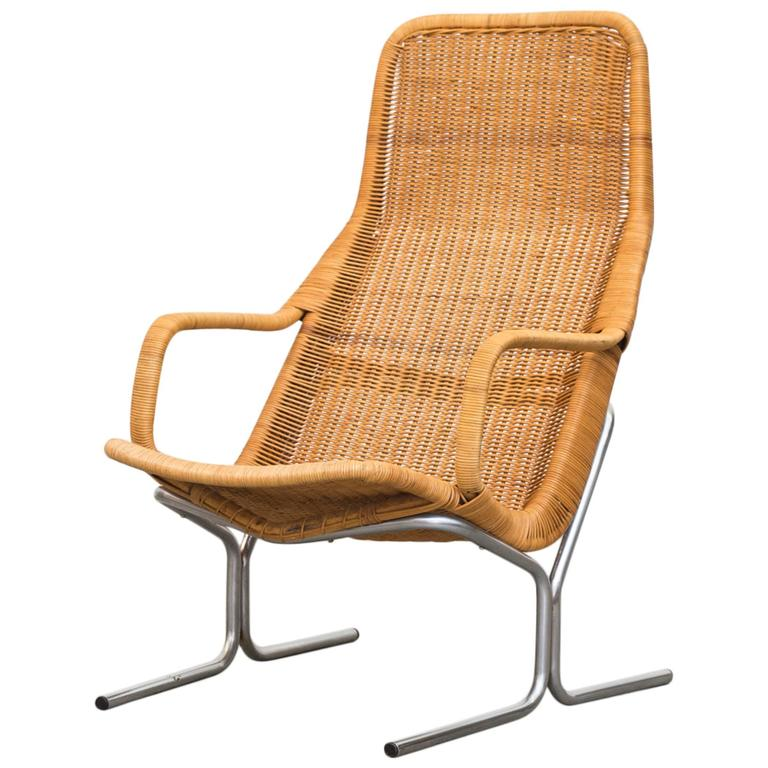 Dirk Van Sliedrecht Rattan Lounge Chair With Chrome Sled
