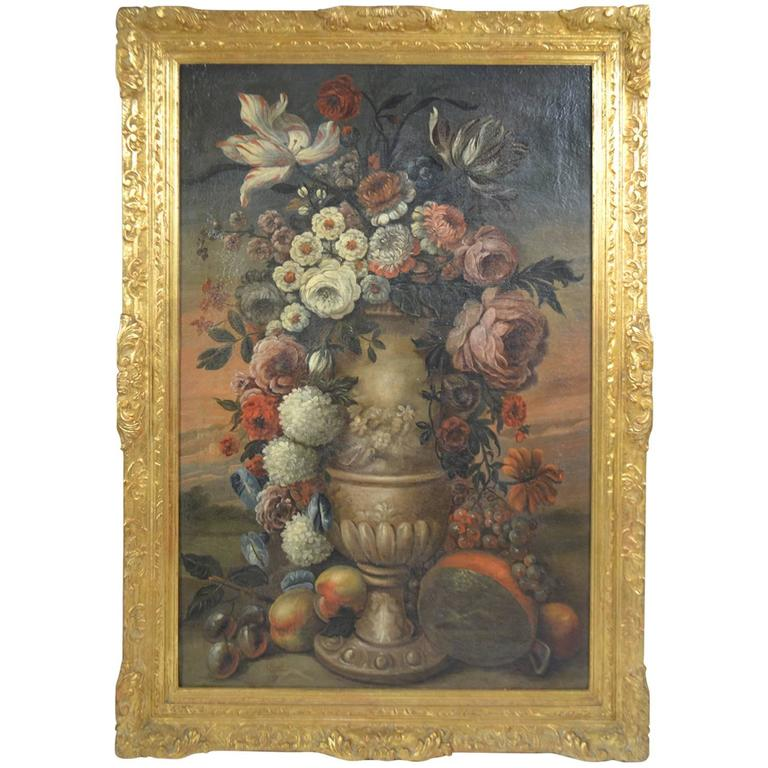 18th Century oil on canvas of a Baroque Urn with flowers