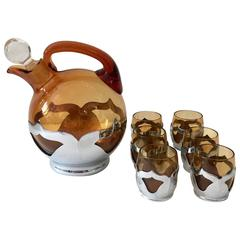 Art Deco Chrome and Amber Glass Drinks Set of Eight