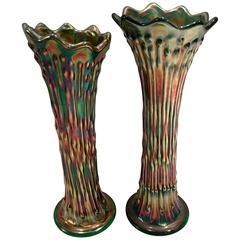 Antique Pair of Fenton Green Art Glass Vases