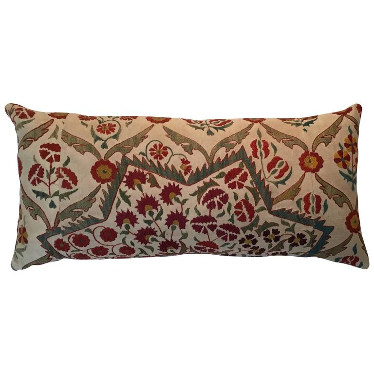 Large Embroidery Suzani Pillow For Sale