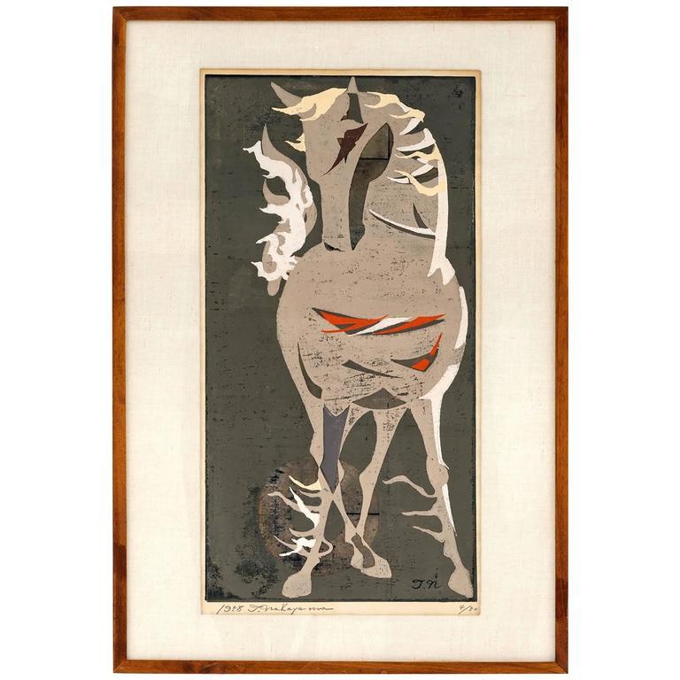 Tadashi Nakayama Horse Woodblock Print circa 1950's For Sale