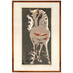 Tadashi Nakayama Horse Woodblock Print circa 1950's