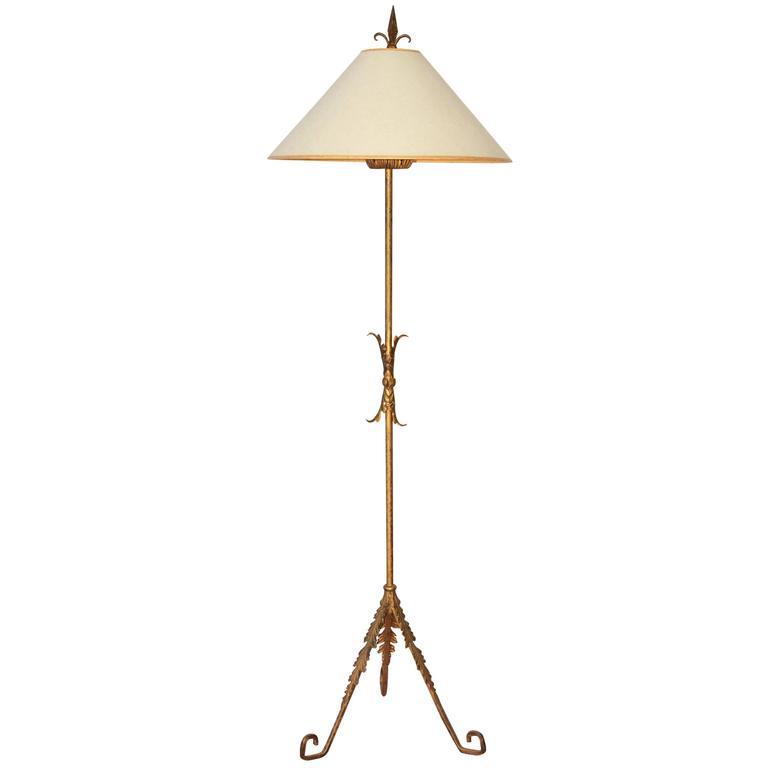 Gilt Metal Italian Floor Lamp