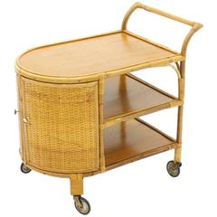 Bamboo and Cane Bar Trolley, Germany, 1950s