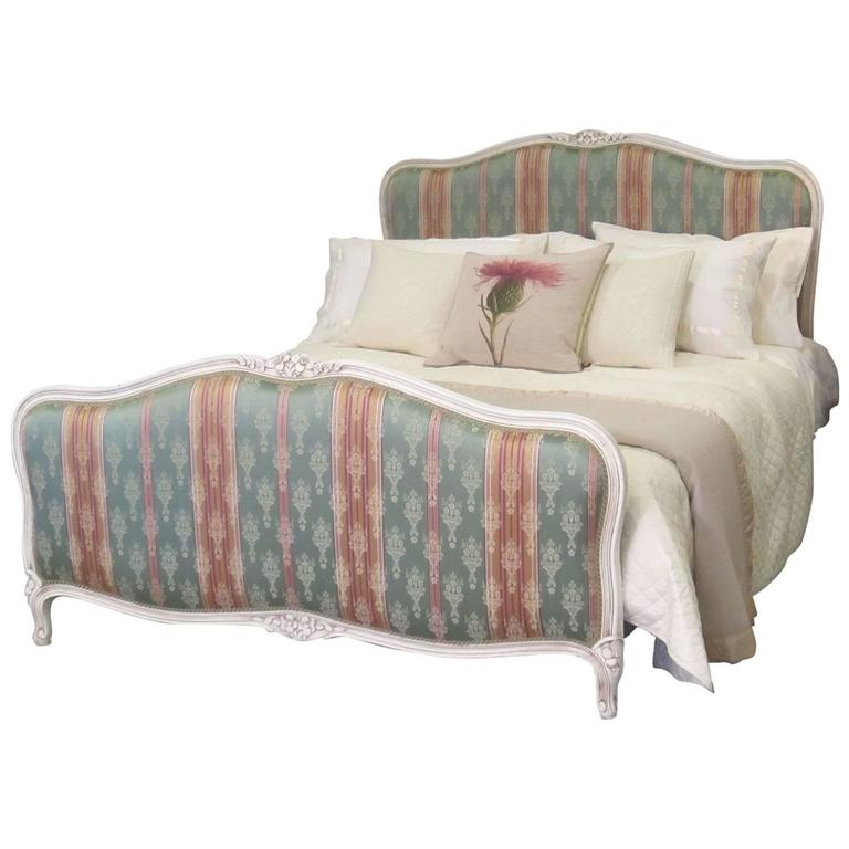 Upholstered white painted frame bed wk67 at 1stdibs for White upholstered bed frame