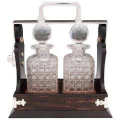 Antique Two Bottle Silver Plated Betjemann Coromandel Decanter Tantalus