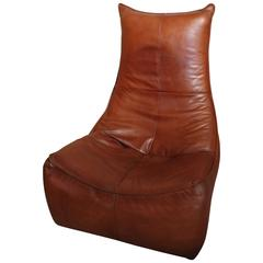 """The Rock"" Gerard Van De Berg Cognac Coloured Leather Chair Made by Montis"