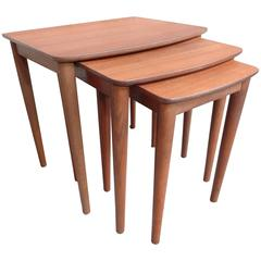 Mid-Century Modern 1960 Sought after Danish Solid Teak Nest of Three Tables