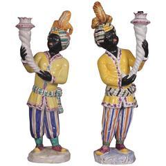 Pair of Italian Nubian Torcheres in Painted Ceramic