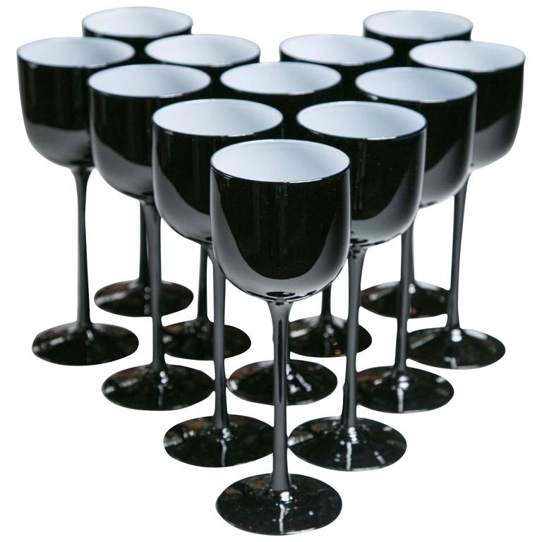 Set of 12 Carlo Moretti Cased Glass Black Wine Glasses