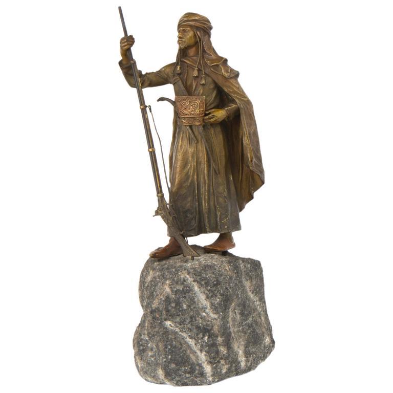 Vienna Bronze Sculpture of an Arabian Soldier by Franz Bergman For Sale