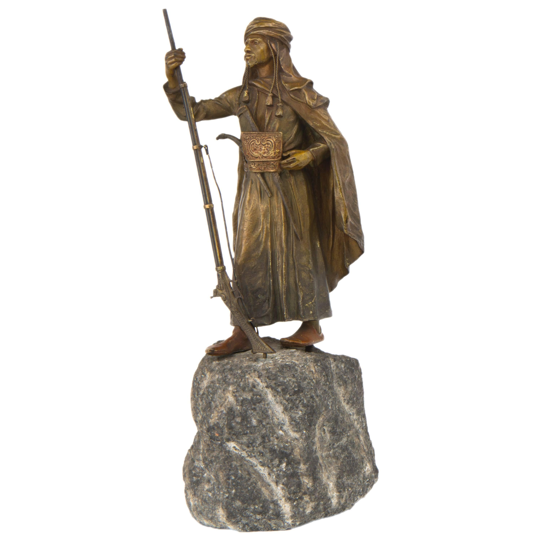 Vienna Bronze Sculpture of an Arabian Soldier by Franz Bergman