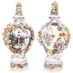 Pair Dresden Style Hand Painted Porcelain Vases