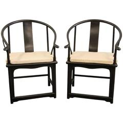 Pair of Late Black Lacquered Chinese Armchairs