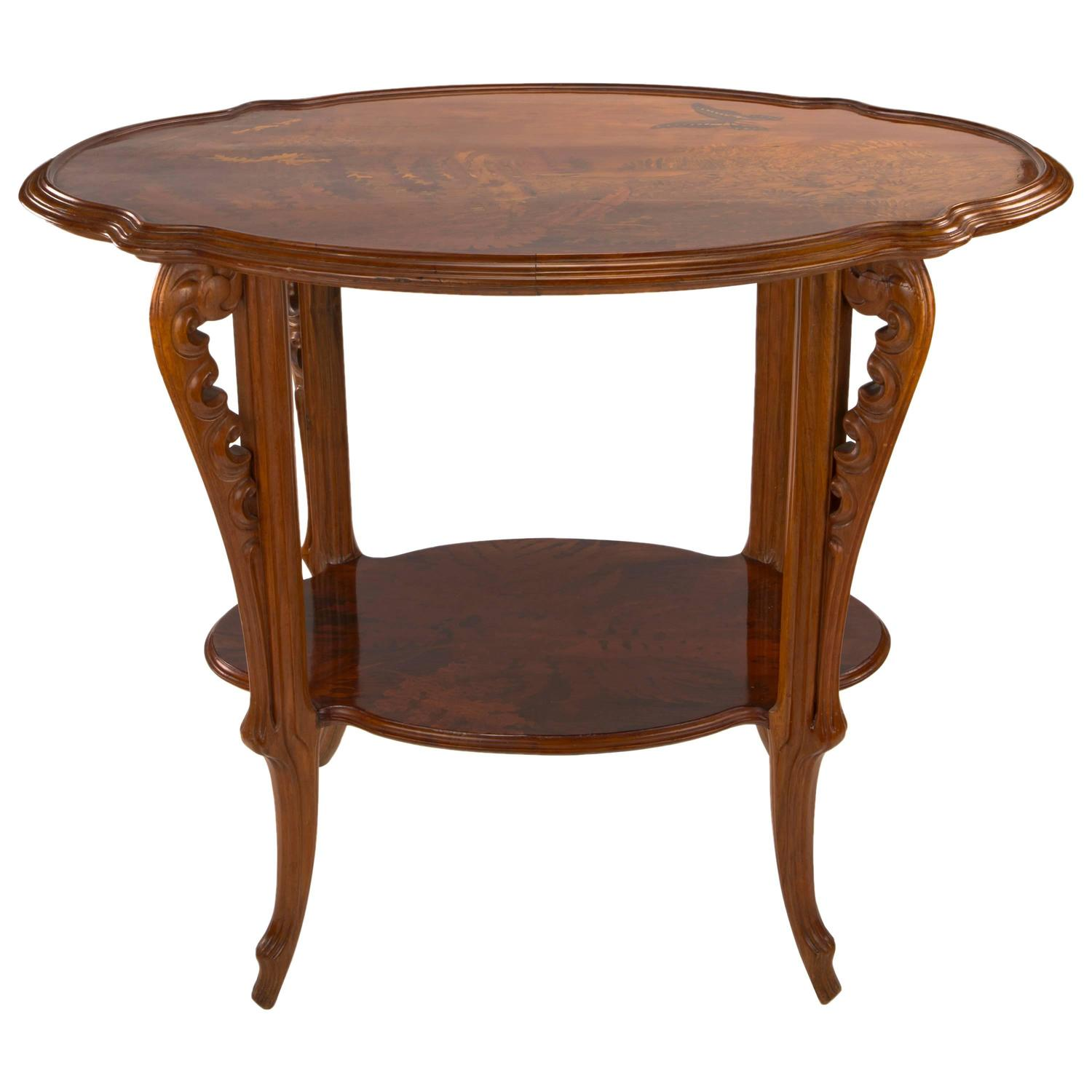 French Art Nouveau Carved and Inlaid Wood Marquetry Table by Emile