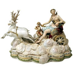 Meissen Luna in Chariot on Clouds by Kaendler for Czarina Katharina, circa 1870