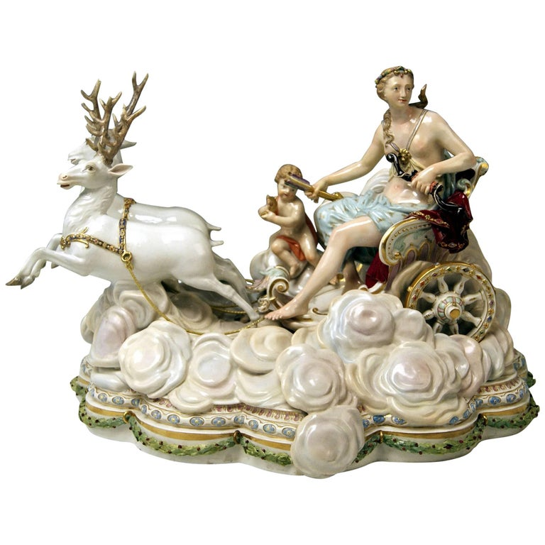 Meissen Luna in Chariot on Clouds by Kaendler for Czarina Katharina, circa 1870 For Sale