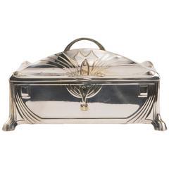 Silvered Art Nouveau Jewelry Casket by W.M.F.