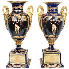 Pair Large French Empire Porcelain Vases Napoleonic