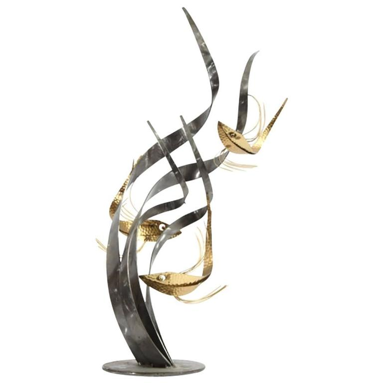 Brass and Steel Sculpture in the Style of Curtis Jere