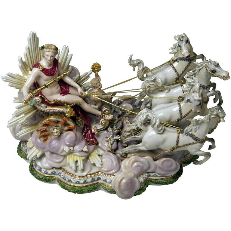 Meissen Apollo in Chariot of Sun by Kaendler for Czarina Katharina made c.1870 For Sale