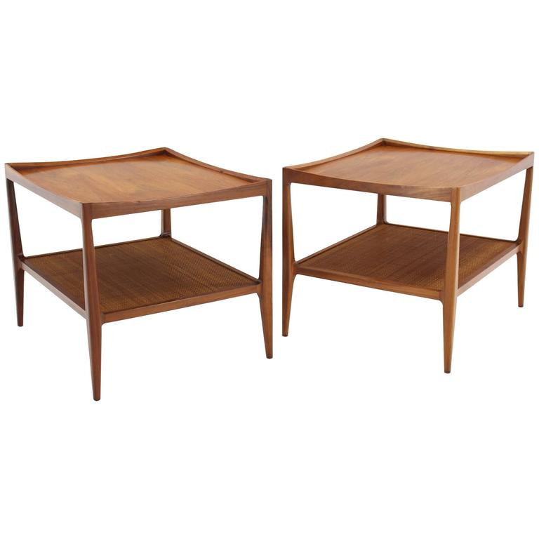 Pair of Rolled Gallery Edge Mid Century Modern Walnut End Tables