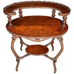Heywood Bros & Co Oak Two-Tier Wicker and Oak Oval Table