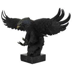 Large Painted Bronze Eagle