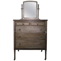 Restored Metal Dresser with Pull-Out Vanity Table