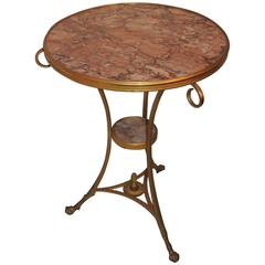 Wonderful Neoclassical Bronze Ormolu Gilt Rouge Marble Louis XV1 Gueridon Table