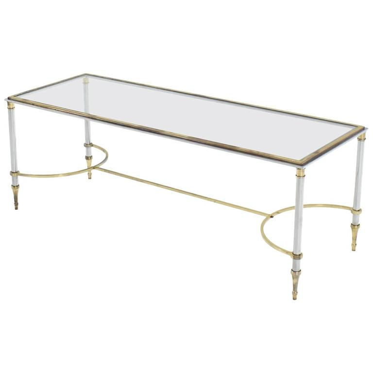 Glass Chrome and Brass Mid-Century Modern Rectangle Coffee Table