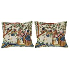 Pair of Indian Crewel Pillows, Priced Individually
