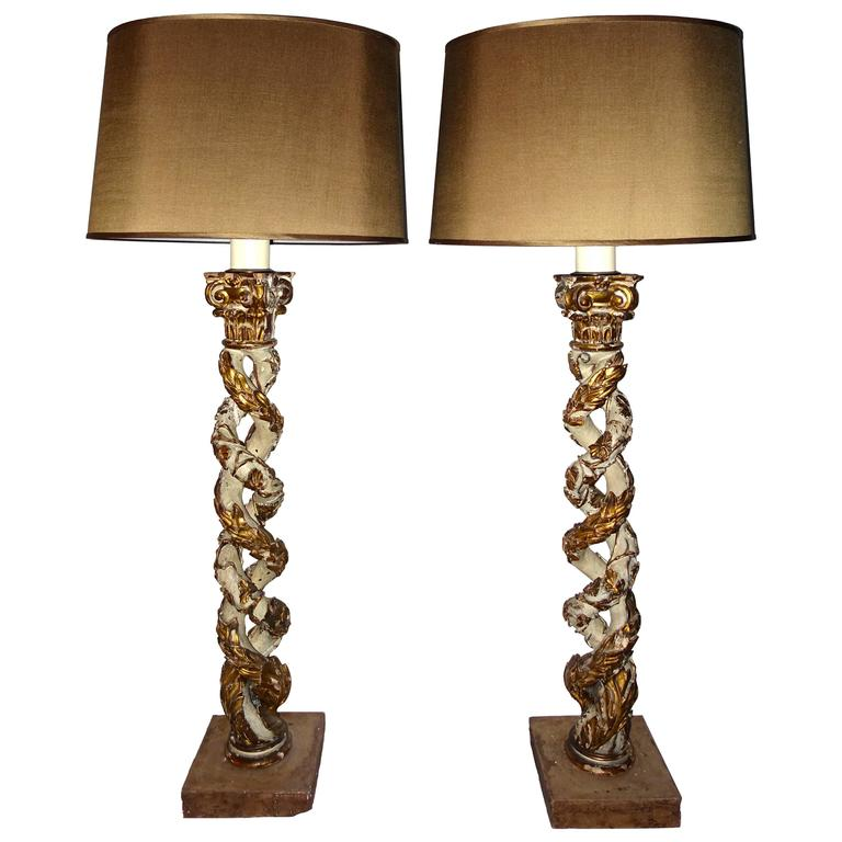 18th Century Pair of Carved Column Lamps, Italy