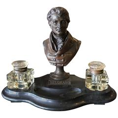Antique A. Carrier Signed Bronze Bust of Belgrano Marble Base Double Inkwell