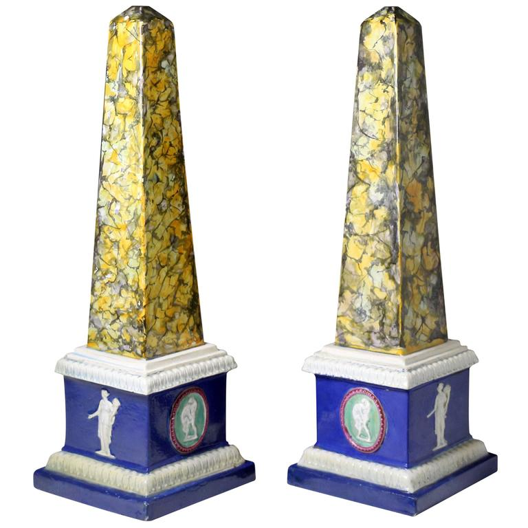 Pair of Staffordshire Pottery Obelisks, Mocha decoration late 18th century 1