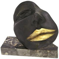 Black Sexy Bronze Sculpture of a Partial Face with Gold Lips on Marble Base