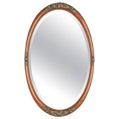 French Art Deco Mahogany Oval Mirror, 1930s